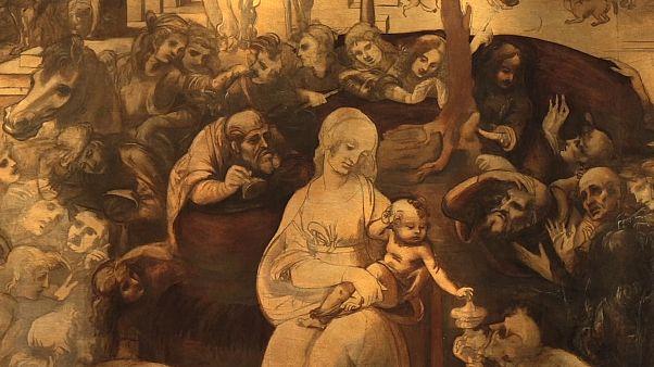"""Obra enigmática de Da Vinci """"Adoração dos Magos"""" exibida em Florença"""