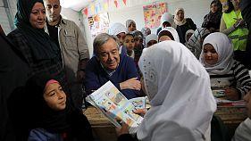 Guterres no campo de refugiados de Zaataria