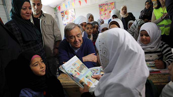Visita del secretario general de la ONU al campo de refugiados sirios de Zaatari