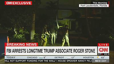 A still from CNN\'s footage of Roger Stone\'s arrest.