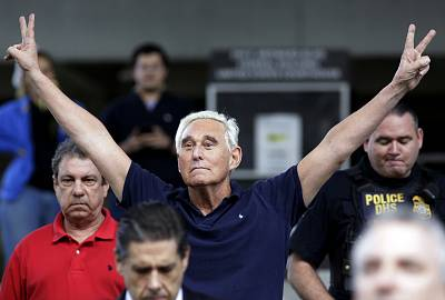 Former campaign adviser for President Donald Trump, Roger Stone walks out of the federal courthouse following a hearing on Jan. 25, 2019, in Fort Lauderdale, Florida.  Stone was arrested Friday in the special counsel\'s Russia investigation and was charged with lying to Congress and obstructing the probe.