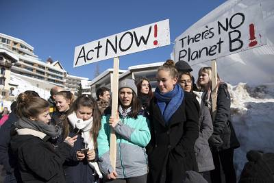 Students participate in the \'School Strike for Climate\' on the last day of the 49th Annual Meeting of the World Economic Forum, WEF, in Davos, Switzerland.