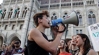 Macaristan'da üniversite yasası protestosu