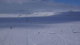 طولانی ترین مسیر کایت سواری روی برف