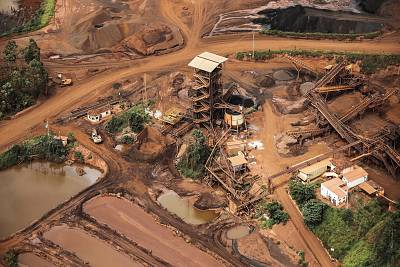 Mud and waste from the dam burst in Brumadinho, Minas Gerais, Brazil, on Jan. 26, 2019.