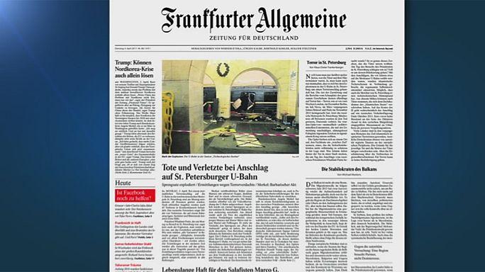 اعتداء سان بطرسبورغ...تضامنٌ دولي وتعاطفٌ إعلامي تَصدَّر الصفحات الأولى للجرائد