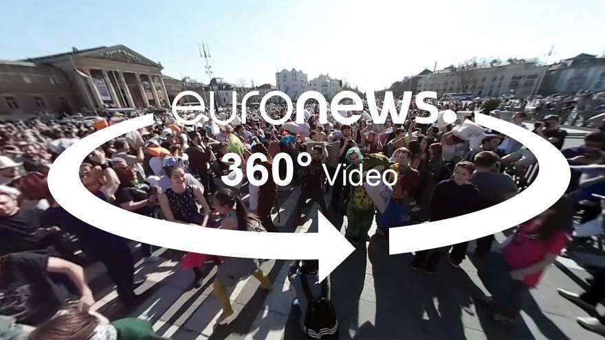 Armed with pillows, Hungarians battle it out in the street