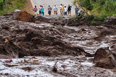 Mud and waste from the dam spill blocks a street in Brumadinho, Minas Gerais, Brazil, on Jan. 26 2019.