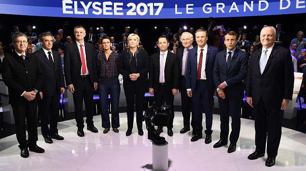 نخستین مناظرۀ تلویزیونی با حضور ۱۱ نامزد انتخابات فرانسه برگزار شد