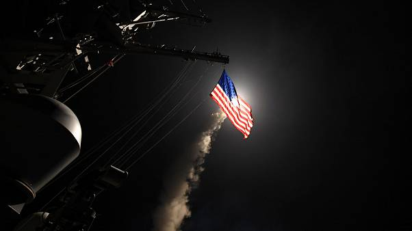Pentagon video of missile launch against Syrian airbase