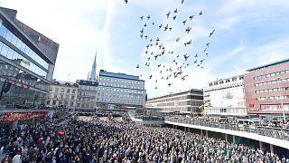 Homenagem às vítimas do ataque em Estocolmo