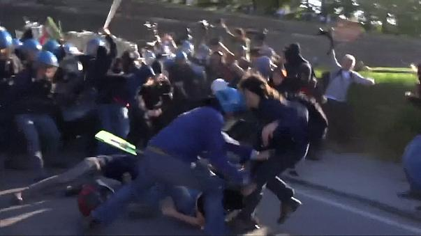 Violent clashes at G7 in Italy