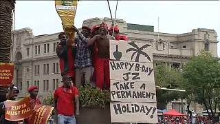 South Africa's Zuma celebrates birthday amidst opposition protest [no comment]