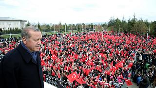 Flush with referendum win, crowd asks Erdogan for death penalty