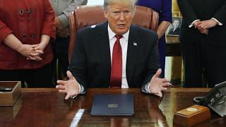 President Donald Trump speaks during a meeting with American manufacturers