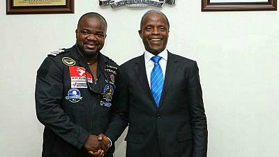 Nigerian Veep celebrates first African pilot to fly solo across the world