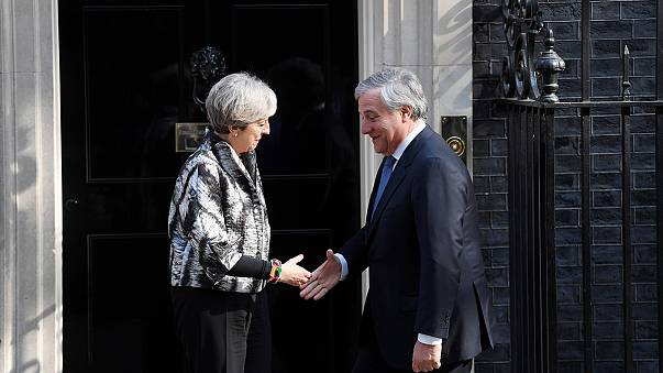 EU's Tajani holds talks with PM May