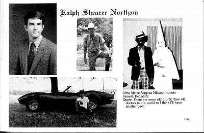 A photo on Ralph Northam\'s page in the Eastern Virginia Medical School\'s 1984 yearbook appears to show a man in blackface.