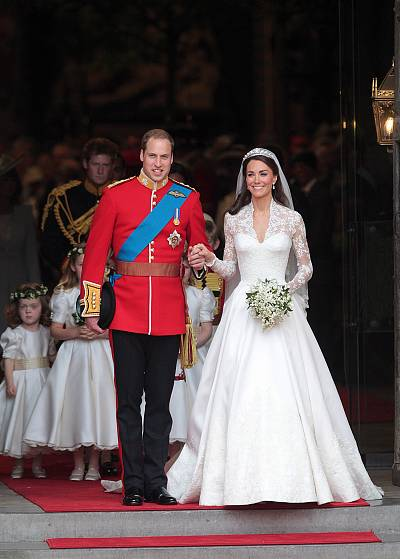 Prince William and his wife Catherine, Duchess of Cambridge, after their wedding ceremony on April 29, 2011.