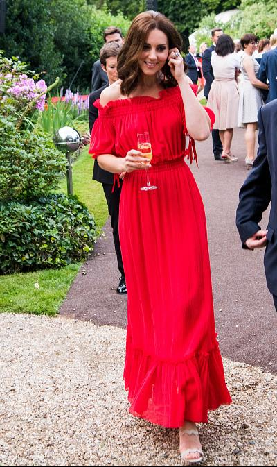 Catherine, Duchess of Cambridge, first wore this red Alexander McQueen dress at Queen Elizabeth II\'s birthday party in July 2017.