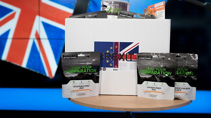 "Image: A ""Brexit Box"" containing dried food and other supplies"