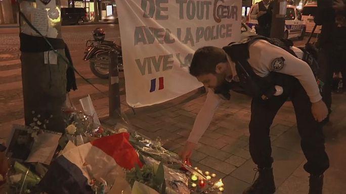 Homenaje en París al policía que murió el jueves en el atentado de los Campos Elíseos