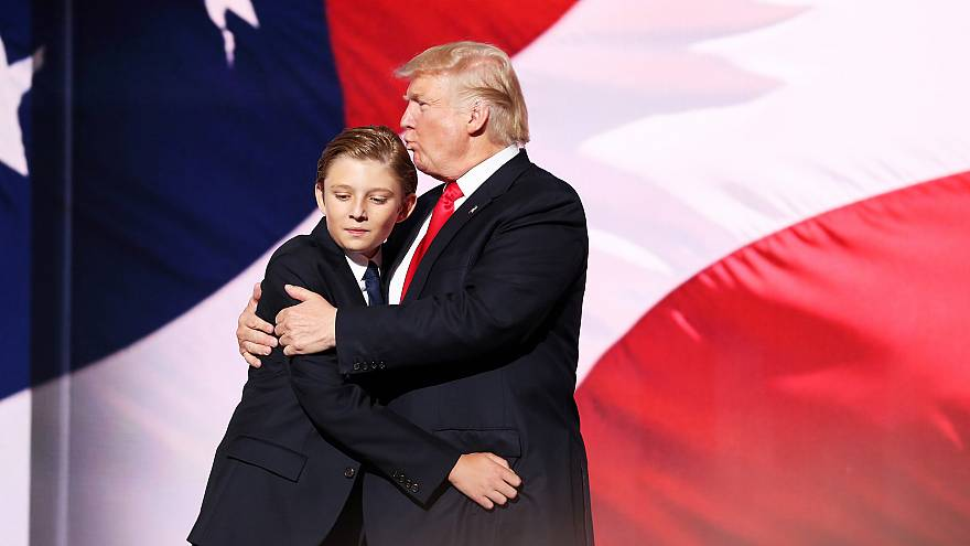 Image: Donald Trump embraces his son, Barron, at the Republican National Co