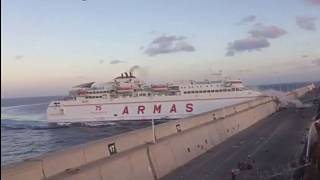 {Watch} Passenger ferry crashes into Canary Islands pier