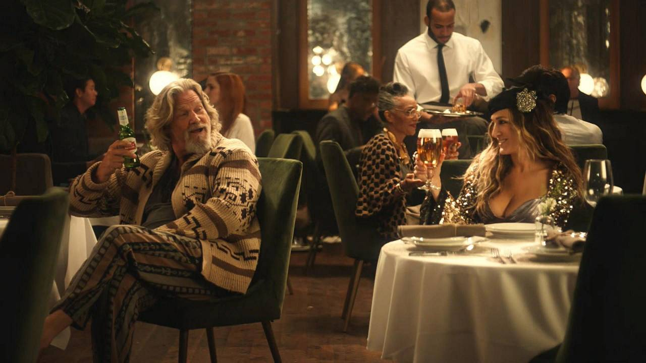 Image: Sarah Jessica Parker and Jeff Bridges appear in a Super Bowl ad for