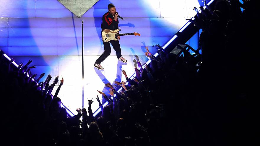 Adam Levine of Maroon 5 performs during the Pepsi Super Bowl LIII Halftime