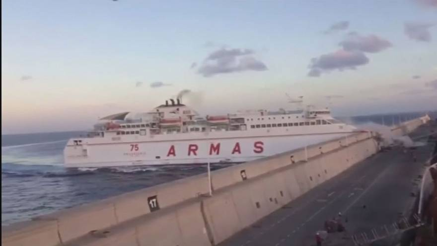 Ferry smashes in to concrete wall