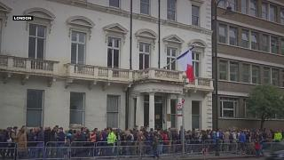 Long queues of French voters at polling stations around the world