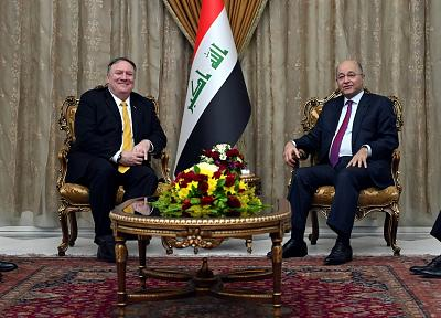 Secretary of State Mike Pompeo meets with Iraq\'s President Barham Saleh in Baghdad, Iraq, during a Middle East tour in January.