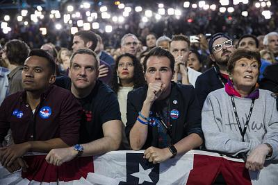 The crowd reacts while watching election results at Hillary Clinton\'s event at the Javits Convention Center in New York on Nov. 8, 2016.