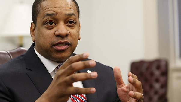 Image: Virginia Lt. Gov. Justin Fairfax speaks at his office in Richmond on