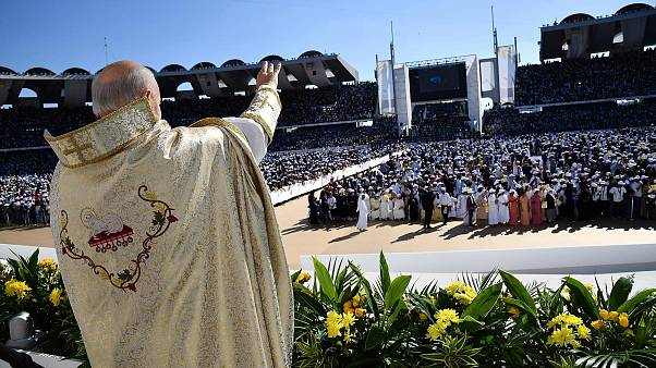 Image: Pope Francis holds a mass at Zayed Sports City Stadium in Abu Dhabi,