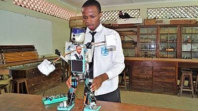 Tanzanian high school student builds solar-powered robot