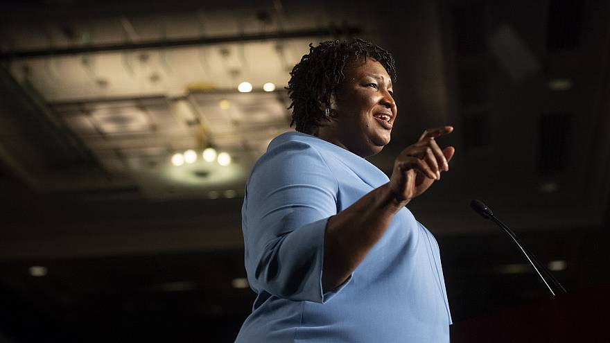 Stacey Abrams addresses supporters during an election night watch party in