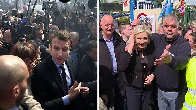 Ugyanannál a gyárnál kampányolt Le Pen és Macron