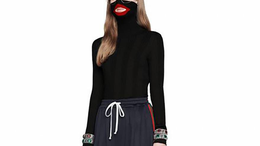 "Image: The black balaclava sweater from Gucci's 2018 ""Fall Winter"" collecti"