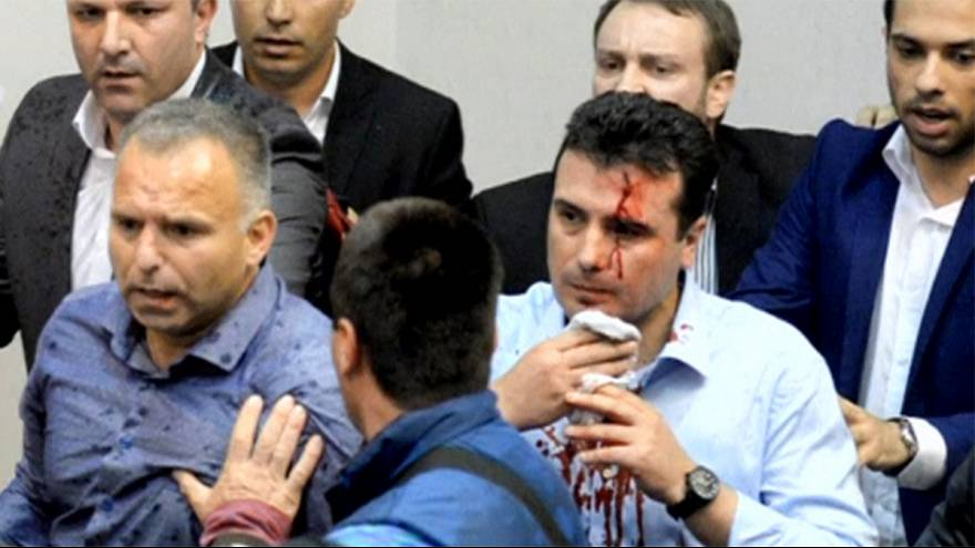 Macedonian president pleas for calm after violence in parliament
