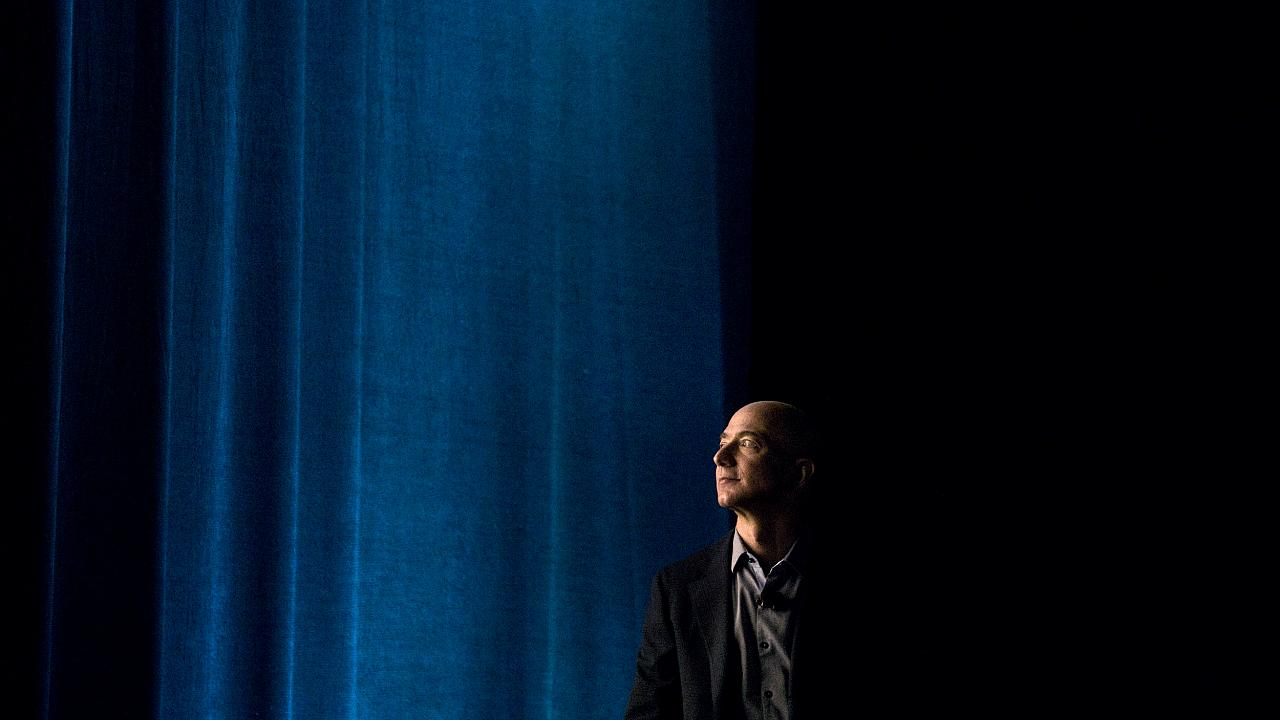 Image: Jeff Bezos, chief executive officer of Amazon, at an event in Seattl