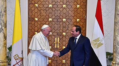 Pope Francis denounces barbarity during Egypt visit