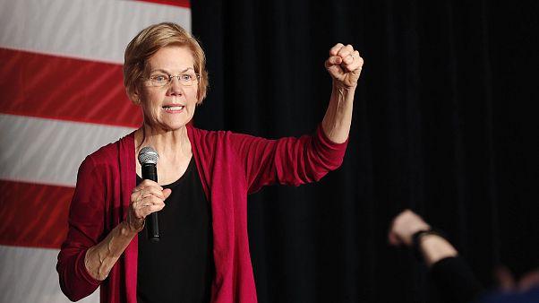 Image: Sen. Elizabeth Warren, D-Mass, speaks during an organizing event at