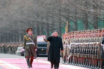This picture taken on February 8, 2019 and released from North Korea\'s official Korean Central News Agency (KCNA) shows North Korea\'s leader Kim Jong Un visiting the Ministry of People\'s Armed Forces for the 71st founding anniversary of the Korean People\'s army in Pyongyang.