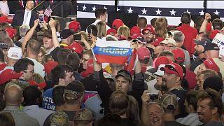 Banderas rusas en un mítin de Trump en Pensilvania