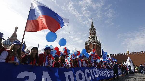 Russians on Red Square for International Workers Day