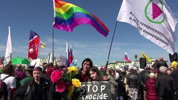 Russian LGBT activists arrested during march against 'killing and torture' of gay men in Chechnya