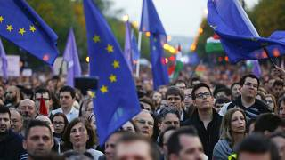 """We belong to Europe"" - Hungarians hold May Day rally"