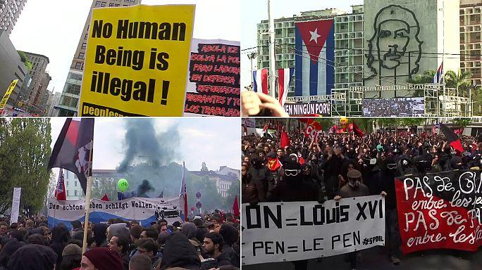 Primo maggio in piazza nel mondo, tra scontri e cortei di protesta